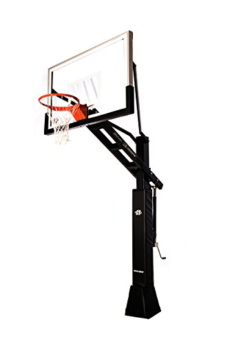 "Ryval C660 Basketball Hoop - 60"" Clear -View Tempered Glass Backboard, Height Adjustable for Children & Adults, In Ground Basketball Goal, Dual Spring Heavy Duty Flex Rim"