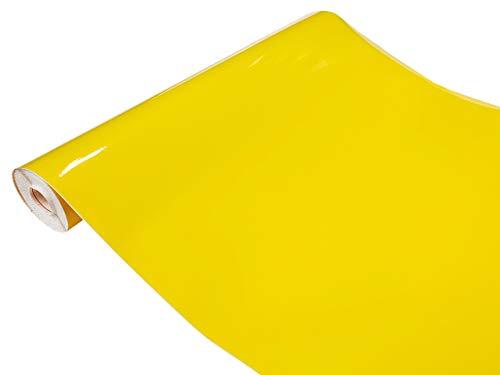Askol DecoMeister Klebefolien Deko-Folien Selbstklebefolie Möbelfolie Selbstklebend Einfarbig Einheitliche Farbe 45x100 cm Limone Gelb Glanz