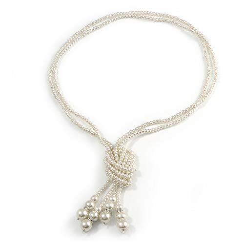 Avalaya 2 Strand Light Cream Faux Pearl Bead Long Lariat Necklace - 118cm L