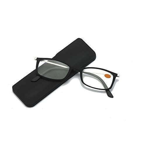KoKoBin Ultradünner Blaulichtfilter Computer Lesebrille Männer und Frauen Anti-Blaulicht-Lesegerät mit ultrakompakter Brillenetui kann auf der Rückseite des iPhone verwendet werden(Schwarz,+2.0)