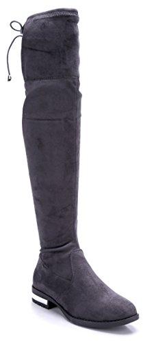 Schuhtempel24 Damen Schuhe Overknee Stiefel Stiefeletten Boots grau Blockabsatz 3 cm