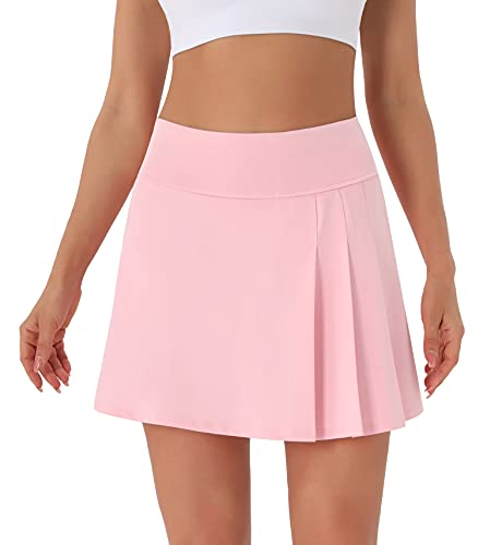 PERSIT Pleated Tennis Skirts for Women, High Waisted Golf Running Workout Athletic Skorts for Women with Pockets -Pink-S