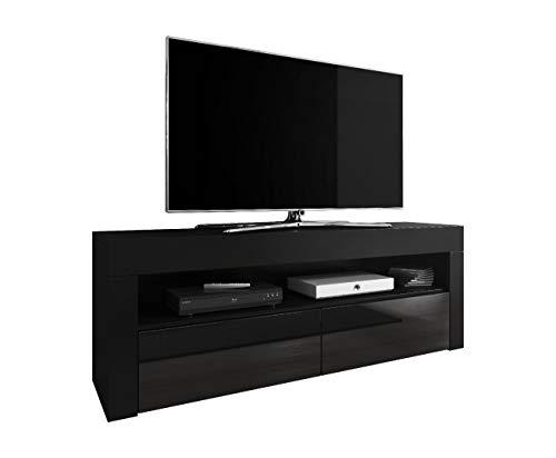 E-Com Mobile TV TV Entertainment Lowboard Luna 140 cm, Corpo Nero Opaco/Frontale Nero Lucido