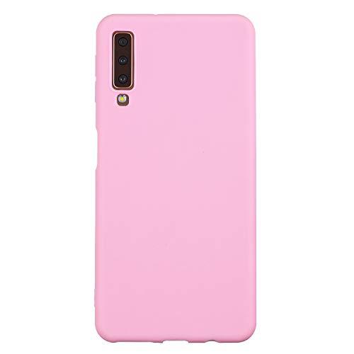 cuzz Funda para Samsung Galaxy A7(2018)+{Protector de Pantalla de Vidrio Templado} Carcasa Silicona Suave Gel Rasguño y Resistente Teléfono Móvil Cover-Rosa Oscuro