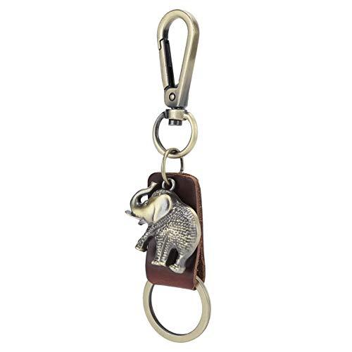Llavero de cuero Llavero retro ligero con forma de elefante 2 piezas Llaveros Equipaje Decoración de coche, para bolsa(Brown elephant)