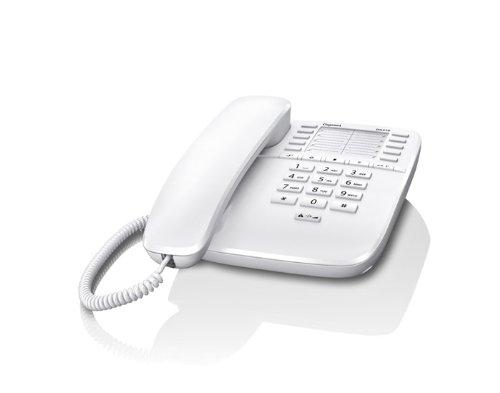 Gigaset DA510 - Schnurgebundenes Telefon - klassisches Schnurtelefon mit Direktruf-Funktion - Rufnummersperrung, weiß