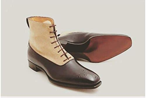 Handmade Men's Casual Brown Leather Beige Suede Oxford Brogue Lace Up  Chelsea Boots: Amazon.co.uk: Handmade
