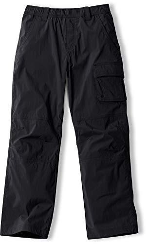 CQR Kids Youth Hiking Cargo Pants, UPF 50+ Quick Dry Convertible Zip Off/Regular Pants, Outdoor Camping Pants, Regular Driflex(bxp426) - Black, 10-12_Medium