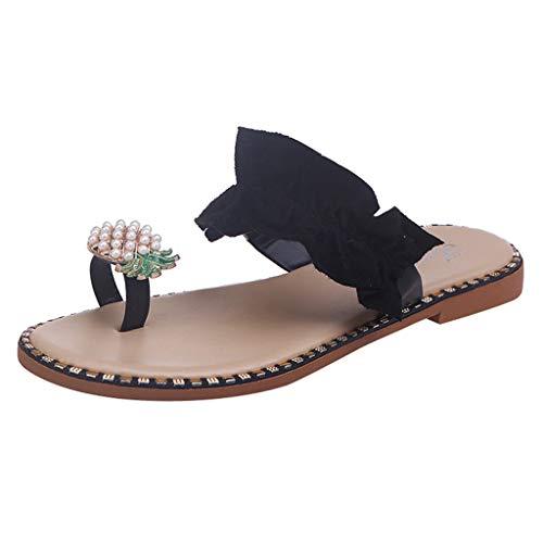 Damen Sandalen Slingback Peep Toe Bequeme Flache Beach Strandsandale Sommer Outdoor Sandals(3-Schwarz/Black,42)