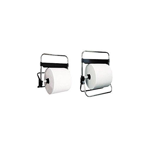 Porta Bobinas de Papel Mecánico Mural Especial Rollos MÁXIMO 38 cm- Instalar sobre una superficie plana, mural o colgar en pared, TUBOS Y EJE- ACERO INOX Espoleta,soportes sierra en Termoplástico ABS