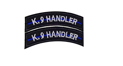 DREAM ARMY K9 Handler TAB Thin Blue LINE Police SWAT Tactical Military Morale Patch Hook Backing (2pcs)