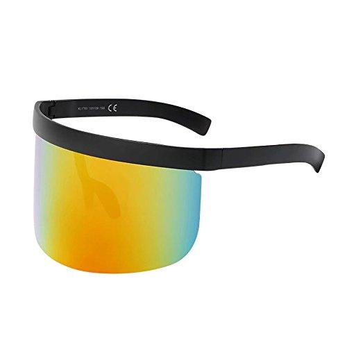 Bascar Gafas de sol de mujer de gran tamaño con marco rectangular multi-tintado, diseño inspirado en gafas elegantes 448 Talla única
