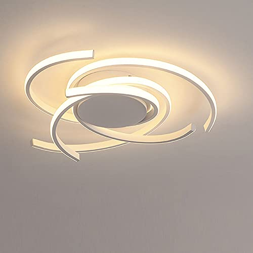 LANTING Lámpara de techo LED regulable para sala de estar moderna 72W con control remoto Luz de Plafón acrílico de metal elegante para dormitorio, comedor, oficina, iluminación de techo Ø56xH10CM