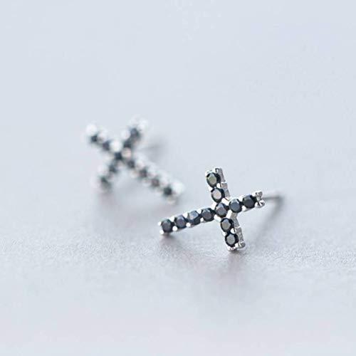 WOZUIMEI S925 Pendientes de Plata Mujer Coreana Moda Diamante Pendientes Cruzados Negros Hombres Y Mujeres PersonalidadPendientes