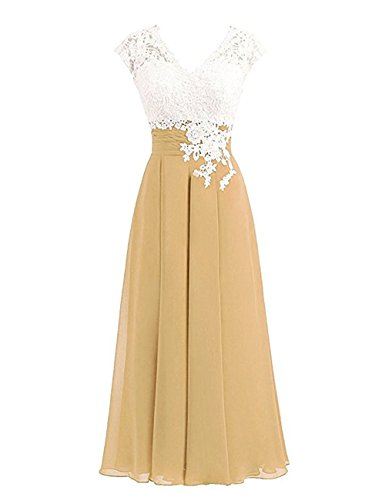 Libaosha Women's Lace Top Button Mother Of The Bride Dress With Cap 20 Plus Gold