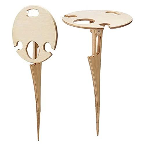 PETSBURG Mesa de vino al aire libre w& plegable redonda escritorio mini picnic de madera fácil de llevar para acampar y cenar