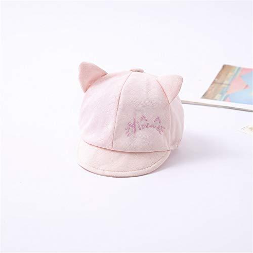Gorro de bebé de 0 a 3 Meses de Tela Transpirable de algodón de Color Agradable para la Piel, Buena absorción de Sudor, pequeño y Lindo Gato Rosa (42-44 cm)