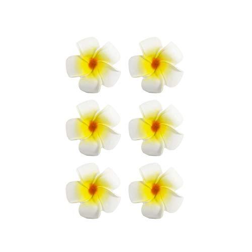 Oblique Unique® 6 Blumen Haarspangen Haarclips Haarschmuck Accessoires Sommer Garten Strand Hawaii Party Feier JGA Hochzeit Karneval Fasching - Farbe Wählbar (Gelb)