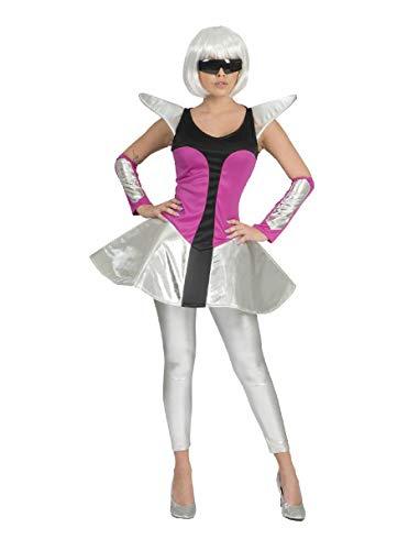 Damen Kostüm Space Travel Kleid silber/pink Armstulpen Weltraum Weltall (40/42)