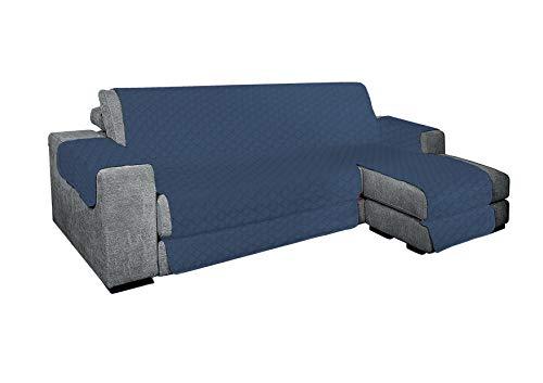 KasaShop Funda de sofá con chaise longue acolchada reversible para chaise longue tanto derecha como izquierda, asiento de 250 cm (azul, sofá de 3 plazas)