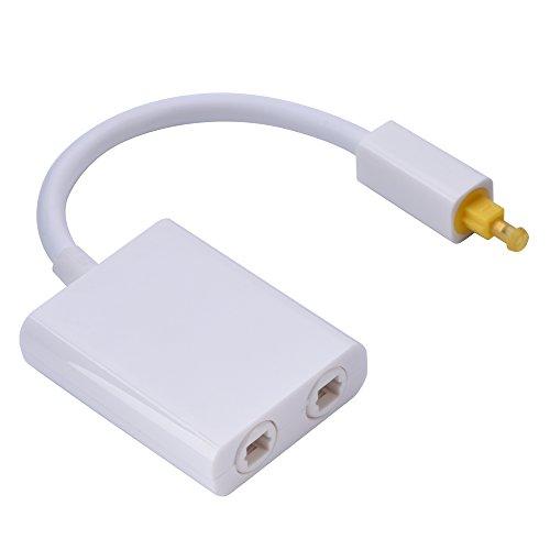 Optische kabelsplitter, Dual Port 1 in 2 Out zwart digitale fiber audio kabel optische kabelsplitter adapter voor CD DVD speler andere audio speler (wit)