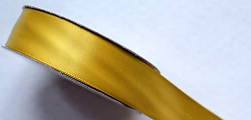 CaPiSo 25m 10mm Doppelseitiges Satinband Schleifenband Satin Dekoband Geschenkband doppelseitig (Gold)