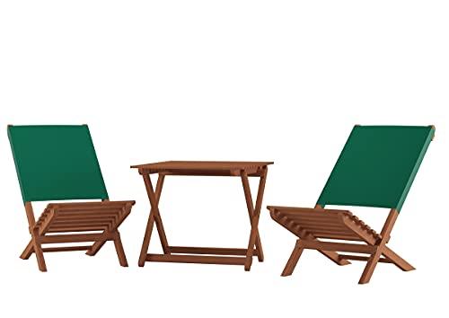 Erst-Holz Klappstuhl Strandstuhl Anglerstuhl Gartenstuhl Stuhl zum Zusammenstecken grüner Bezug V-10-352, Ausstattung:Doppelpack. Tisch. Tasche blau