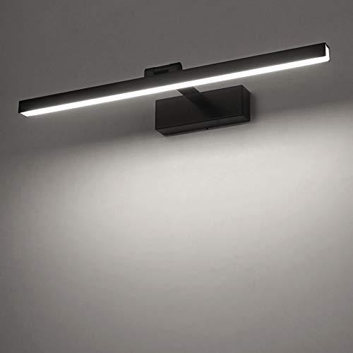 Yafido Aplique Espejo Baño Interior LED 12W Blanco Frio 6000K 1000LM 50CM Negro Negro luz Baño Lámpara para Maquillaje