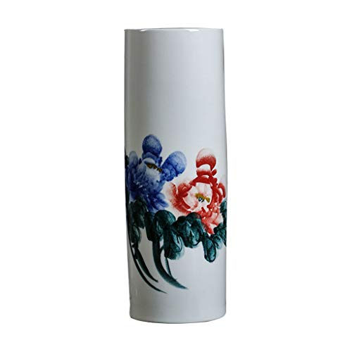 Vase Céramique Vase Classique Paysage Céramique for Vivre Déco Art Accueil Ménage Chambre Chambre Bureau Table avec Base Blanche 15,5 x 46 cm