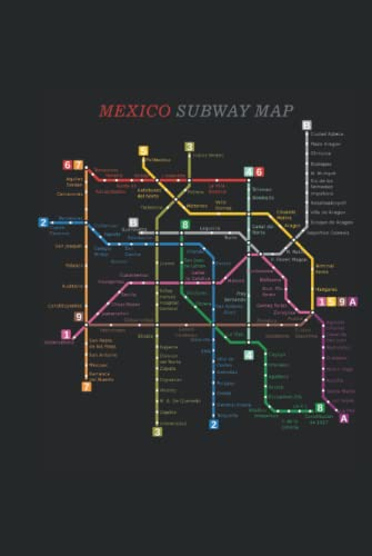 Mexico Subway Map: Cool Novelty Gift for a Traveler ~ Small Lined Notebook (6'' X 9')