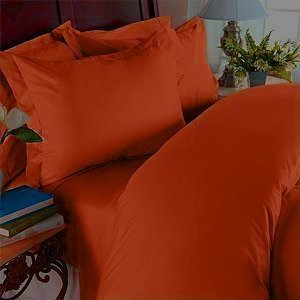 Elegant Comfort 1500 Thread Count - Wrinkle Resistant - Egyptian Quality Ultra Soft Luxurious 4 pcs Bed Sheet Set, Deep Pocket Up to 16' - Many Size and Colors, California King, Rust/Orange