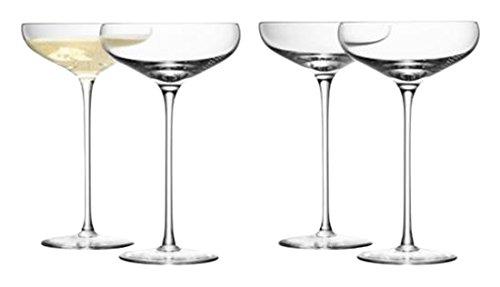LSA International - Juego de copas de cristal para champagne transparentes, 4 unidades de 300 ml