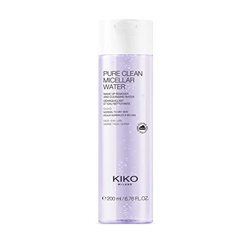 Kiko Milano Pure Clean Micellar Water Normal To Dry 200 ml Agua Micelar Desmaquillante para Rostro, Contorno de Ojos y Labios, para Pieles de Normales A Secas