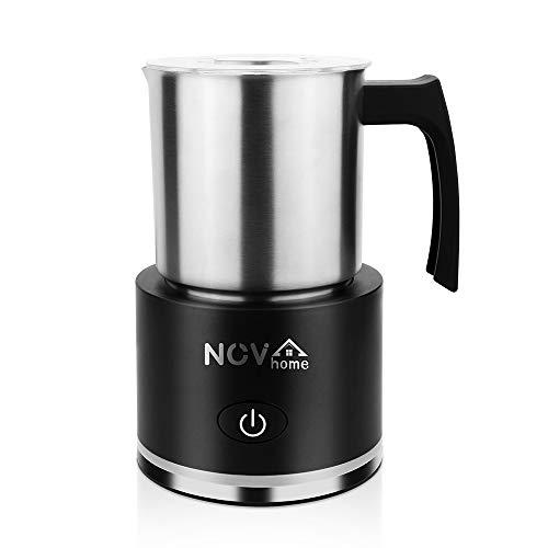 Novhome Espumador de Leche Eléctrico INOX 600W 250 ml Batidor de Leche Espuma Frío y Caliente 3 Modos Apagado Automático para Leche Café Cappuccino Latte (Negro)