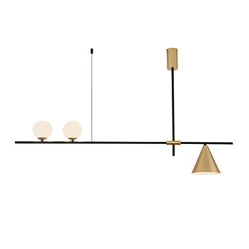 Lámpara colgante de metal moderna creativa dorada, lámpara de techo de 3 focos, decoración de mesa de comedor, lámpara de techo de luz cálida para mesa de comedor, iluminación
