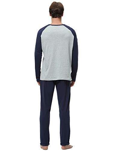 Aiboria Pijamas Hombre Algodón 2 Piezas Calentito Pijama Hombre Manga Larga Ropa de Dormir Top y Pantalones Pijamas