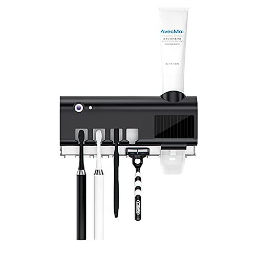 Portacepillos de dientes UV con energía solar esterilizador, doble capa, dispensador automático de dientes de dientes de baño, accesorios de baño, pared (blanco)