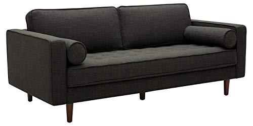 Amazon Brand – Rivet Aiden Mid-Century Sofa with Tapered Wood Legs, 74'W, Dark Grey
