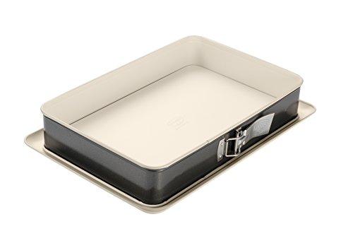 Dr. Oetker 4861, Lata de torta rectangular de Springform, acero, crema/antracita, 38 x 25 cm