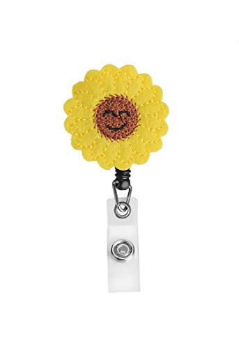 Yellow Beautiful Sunflower Badge ID Holder Retractable Badge Holder Badge Reel with 360 Degree Rotating Alligator Clip for Nurse Teacher, Perfect Gifts for Women for ID/Name Badge, Smile