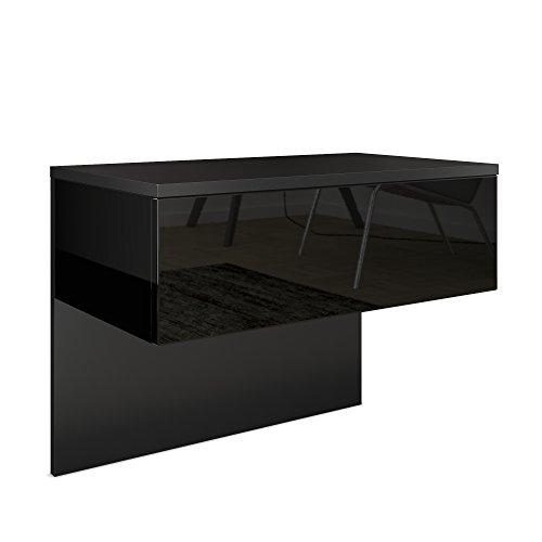 Vladon Nachttisch Nachtkonsole Sleep, Korpus in Schwarz matt/Front und Seiten in Schwarz Hochglanz