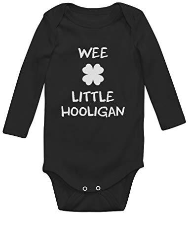 Green Turtle St Patrick Wee Little Hooligan Irish Funny Body Bébé Manche Longue Newborn Noir