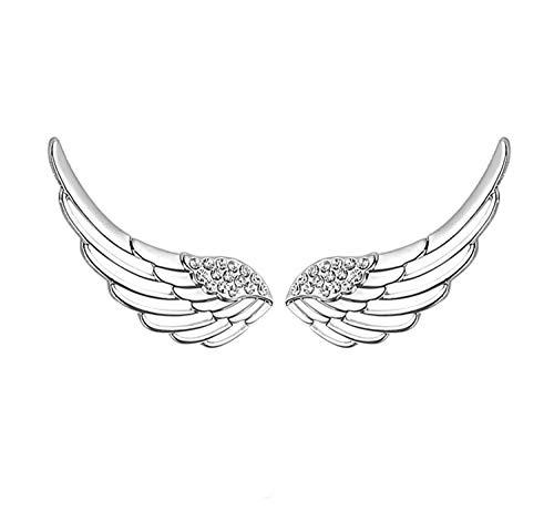 S295 Sterling Silver Ear Climber Crawler Angel Wings CZ Cuff Stud Earrings