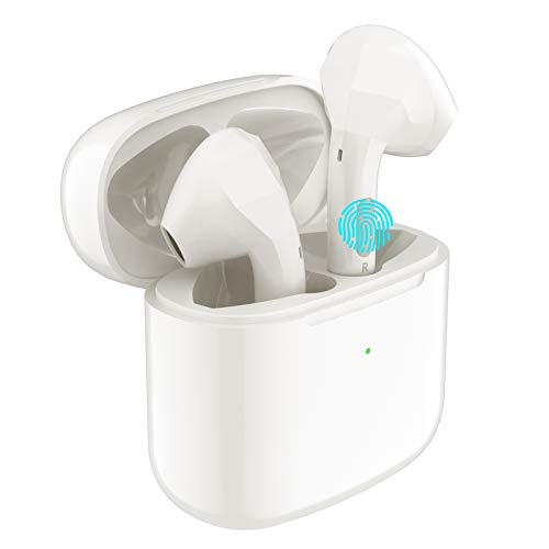 Wireless Earbuds,Conico Bluetooth 5.0 Earbuds with Deep Bass Hi-Fi Stereo Sound and Super Mini Charging Case 20H Playtime IPX6 Waterproof Half in-Ear Headsets with Built-in Mic (White)