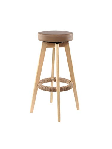ZHyizi massief houten barkruk, roterende ronde zitting Scandinavische stijl hoge stoel voor keuken ontbijt kantoor