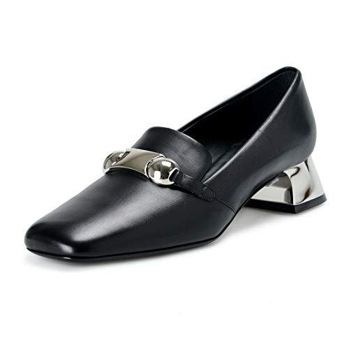 BURBERRY London Women's AMIKA Black Leather Heeled Pumps Shoes Sz US 8.5 IT 38.5