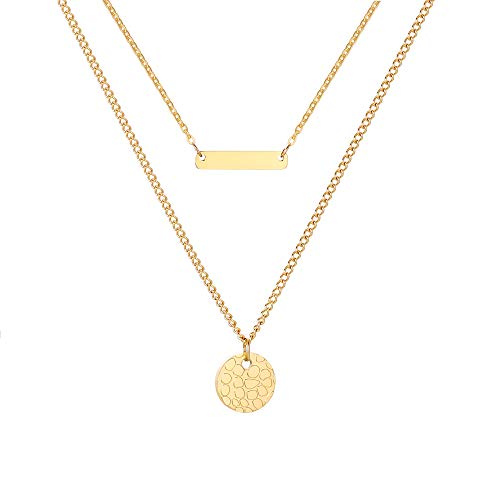 PJ JEWELLERY Stylish 18K Gold Plated Stainless Steel Double Layered Disc and Bar Necklace Personalized Bar Name Plate Layering Necklace for Women