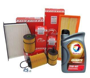 KIT TAGLIANDO CON 4 FILTRI ORIGINALI SPEED by SMC (filtro Aria SA2210 + filtro Olio SO239 + filtro Carburante SRN236 + filtro Abitacolo SE1446) + 4 LITRI OLIO MOTORE TOTAL QUARTZ 5W40