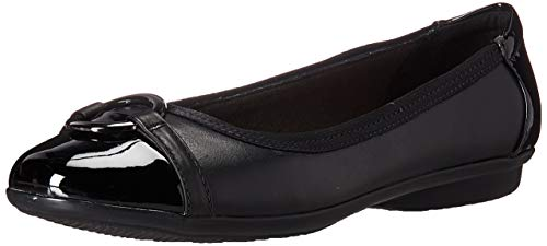 Price comparison product image Clarks womens Gracelin Wind Dress Ballet Flat,  Black Leather / Synthetic,  8.5 US