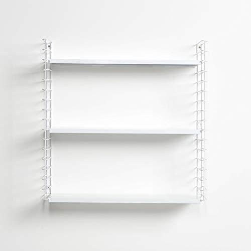 Metaltex Libro- Estantería Modular de 3 Estantes, 70x21x68cm, Blanco